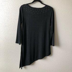 Vintage Black 3/4 Sleeve Asymmetrical Slinky Top